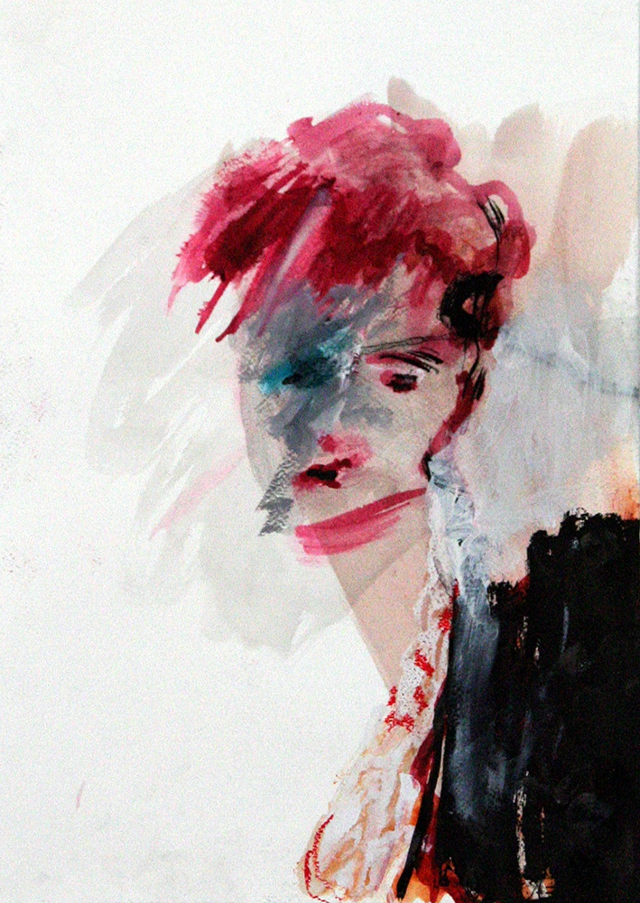 Vanity gouache, oi ink, softpastel, acryl on paper 42x30 cm 2015